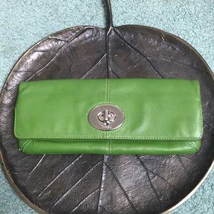 Coach Green Leather Clutch